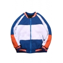 Sport Style Color Block Striped Long Sleeves Zippered Baseball Jacket with Pockets