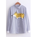 Lovely Dog Corgi Letter Printed Striped Point Collar Long Sleeves Button Down Shirt