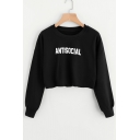 Leisure Letter Printed Round Neck Long Sleeves Pullover Cropped Sweatshirt
