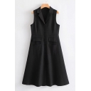 Simple Plain Notched Lapel Single Button Pocket Tank Dress