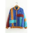 Retro Color Block Plaid Print Long Sleeve Stand-Up Collar Zipper Coat