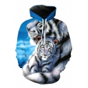 Cute White Tiger Printed Long Sleeves Pullover Casual Hoodie with Pocket