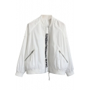 Basic Simple Letter Pattern Long Sleeves Zippered Baseball Jacket with Pockets