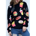 Fashion Food Drink Print Long Sleeve Round Neck Pullover Sweatshirt