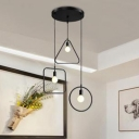 Industrial 3 Light Multi Light Pendant with Metal Cage Frame in Nordical Style, Black