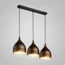 Industrial 20''W Multi Light Pendant with Dome Metal Shade in Antique Brass, 3 Light
