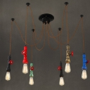 Industrial Vintage 6 Light Colorful Multi Light Pendant in Pipe Style