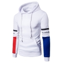 Simple Color Block Letter Printed Long Sleeves Pullover Men's Hoodie with Pocket