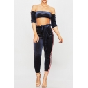 Trendy Off the Shoulder Half Sleeves Bow Paperbag Waist Slim-Fit Striped Co-ords