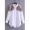Popular Floral Embroidered Point Collar Long Sleeves Button Down Tunic Shirt