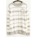 Cute Elephant Striped Pattern Round Neck Long Sleeves Pullover Sweater