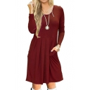 Spring Fashion Round Neck Long Sleeves Plain Pleated T-shirt Mini Dress