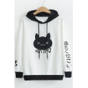 Casual Cat Japanese Color Block Pattern Long Sleeve Hoodie