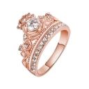 Popular Crown Shaped Jewel Gem Embellished Brilliant Medium Band Ring