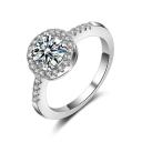 Fancy Rotundity Shaped Jewel Studded Sliver Finish Slim Band Ring