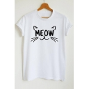 Cute Cat MEOW Letter Pattern Round Neck Short Sleeves Casual Tee