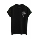 Simple Floral Rose Printed Round Neck Short Sleeves Summer T-shirt