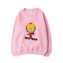 Letter Cartoon Print Long Sleeve Pullover Sweatshirt for Couple