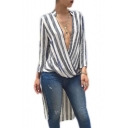 New Stylish Plunge Neck Wrap Waist Stripes Long Sleeve Blouse
