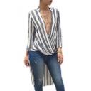 New Stylish Plunge Neck Wrap Waist Stripes Long Sleeve Blouse