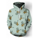 Repetitive Cartoon Print Long Sleeve Hoodie with Pocket