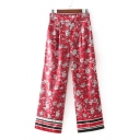 Peasant Floral Pattern Striped Hem Wide Leg Elastic Waist Pants