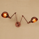 Industrial Vintage 2 Light Multi Light Wall Sconce with Adjustable Fixture Arm in Rust