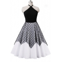 Chic Color Block Polka Dot Halter Fit & Flare Dress