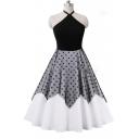 Chic Color Block Polka Dot Halter Fit & Flare Dress