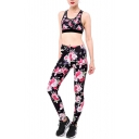 Peasant Style Floral Pattern Scoop Neck Cropped Tank with High Waist Workout Pants