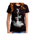 Rainbow Cartoon Unicorn Cloud Print Short Sleeve Round Neck Tee for Couple
