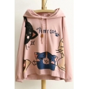 Cute Cartoon Cats Letter Printed Long Sleeve Leisure Hoodie