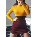 Chic Color Block High Neck Long Sleeves Slim-Fit Bodycon Pencil Mini Knitted Dress