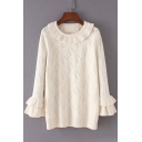 Girlish Round Neck Ruffle Trimmed Diamond Pattern Ribbed Knitted Pullover Sweater