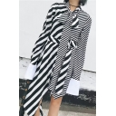 Chic Striped Print Bow Front Belt Waist Long Sleeve Asymmetric Hem Dress