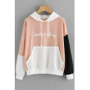 Chic Color Block Letter Pattern Long Sleeves Pullover Hoodie with Pocket