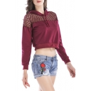 Chic Mesh Patchwork Long Sleeves Pullover Cropped Women's Hoodie with Drawstring