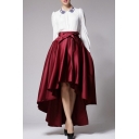 New Stylish Simple Plain Bow Front High Low Hem Skirt