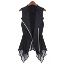 Fashionable Chiffon Insert Simple Plain Zipper Tunic Vest Coat
