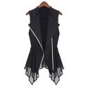 Fashionable Chiffon Insert Simple Plain Zipper Tunic Vest Coat