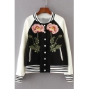 Elegant Floral Embroidery Striped Trimmed Button Down Baseball Jacket with Pockets