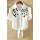Chic Floral Embroidered Short Sleeves Lapel Button Bow Tie-Front Cropped Shirt