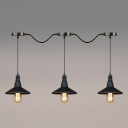 Industrial 3 Light Multi Light Pendant with Saucer Metal Shade, Black