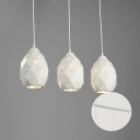 Industrial 3 Light Multi Light Pendant with Metal Shade in White, 20''W