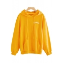 Stylish Letter Embroidered Long Sleeves Pullover Leisure Hoodie with Pocket