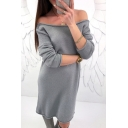 Popular Off the Shoulder Low-cut Back Long Sleeves Knitted Sweater Mini Dress