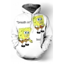 Cute Sponge Cartoon Letter Printed Long Sleeves Pullover Hoodie with Pocket