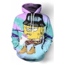 New Fashion Spongebob Cartoon Printed Long Sleeves Pullover Hoodie with Pocket