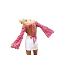 Girly Gingham Plaids Bow Tie Cutout Hollow Back Off the Shoulder Wide Sleeves Blouse