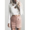 Trendy Cross Cutout Hollow Front Long Sleeves Slim-Fit Cropped Tee